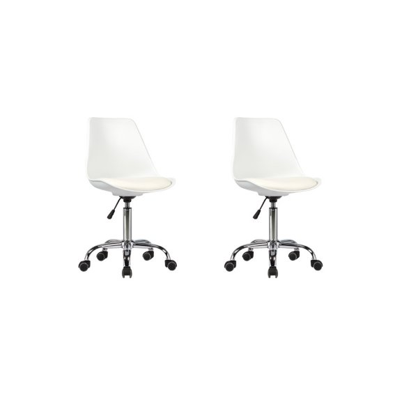 Kit 2x Cadeira Design Saarinen Office Eames Eiffel Rodizio Branco Quartos Chicago Fratini