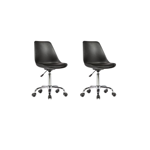 Kit 2x Cadeira Design Saarinen Office Eames Eiffel Rodizio Preto Quartos Chicago Fratini