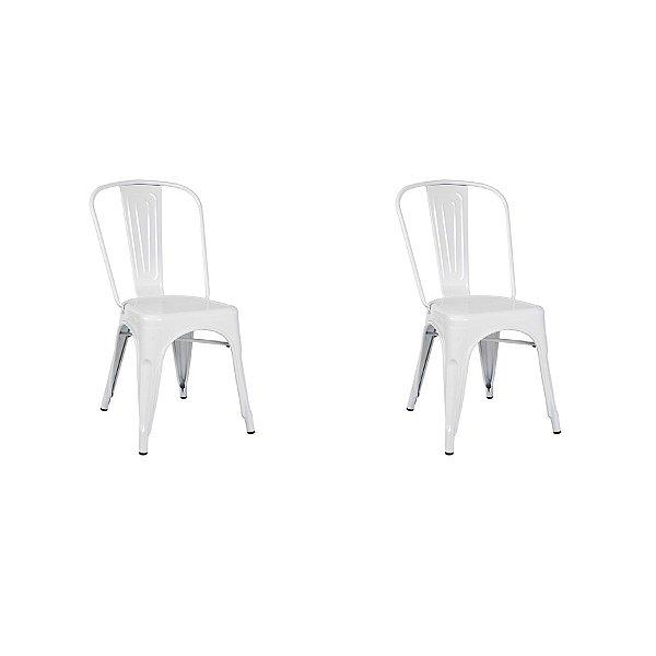 Kit 2x Cadeira Design Tolix Iron Francesinha Xavier Pauchard Branca Cozinhas Berlin Fratini