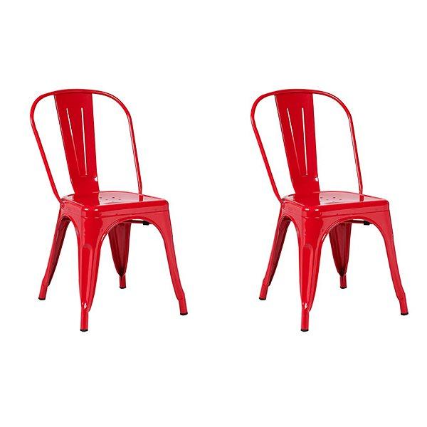 Kit 2x Cadeira Design Tolix Iron Francesinha Xavier Pauchard Vermelho Cozinhas Berlin Fratini