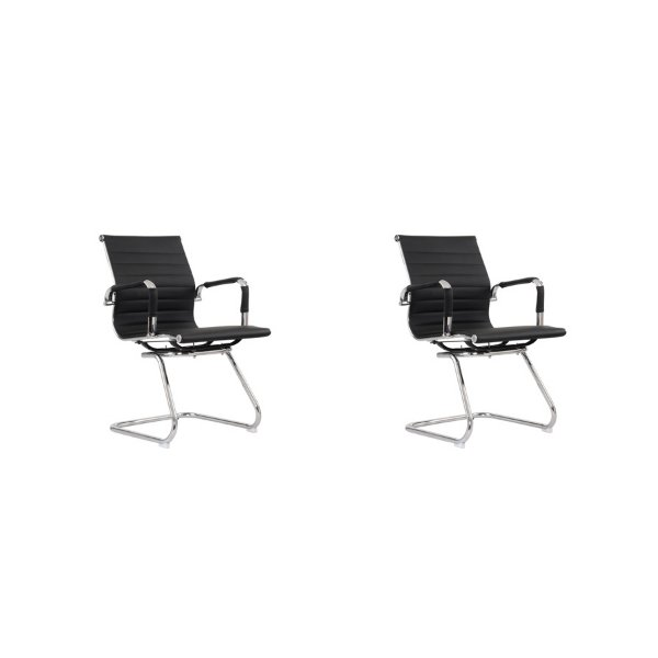 Kit 2x Cadeira Escritorio Fratini Office Rodizio Eames Manhattan Preto Cromado Fixa Diretor Com Braços