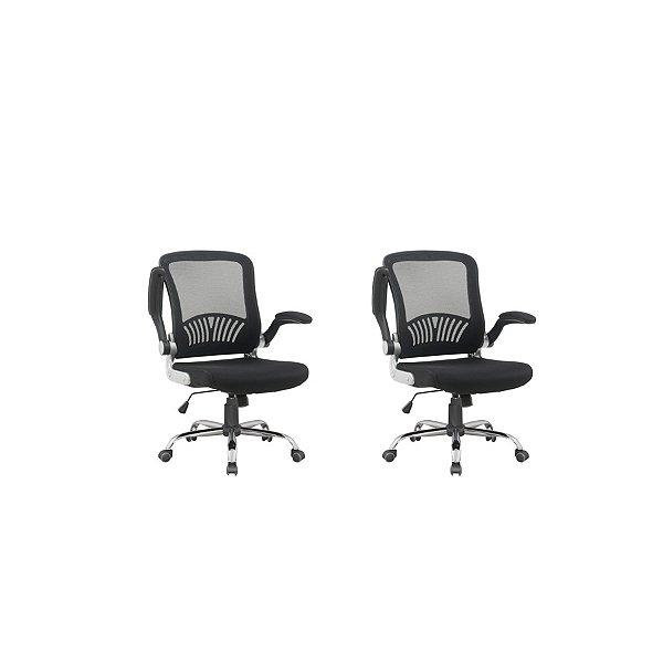 Kit 2x Cadeira Escritorio Fratini Office Rodizio Londres Cinza Giratoria Diretor Com Braços
