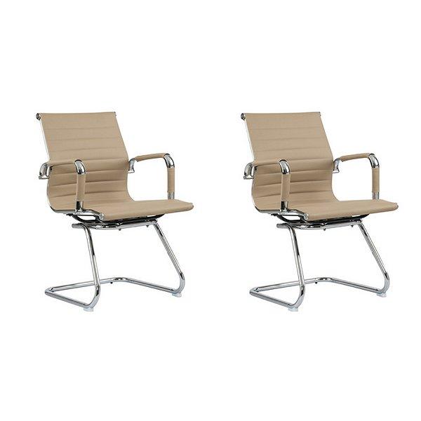 Kit 2x Cadeira Escritorio Fratini Office Rodizio Manhattan Eames Fendi Cromado Fixa Diretor Com Braços