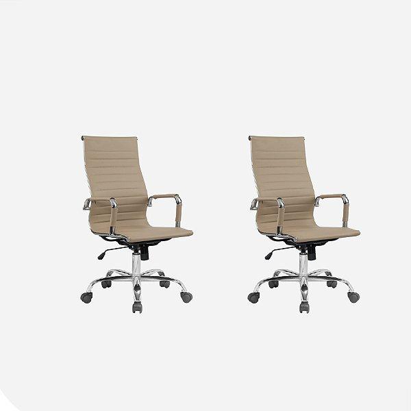 Kit 2x Cadeira Escritorio Fratini Office Rodizio Manhattan Eames Fendi Cromado Giratoria Presidente Com Braços