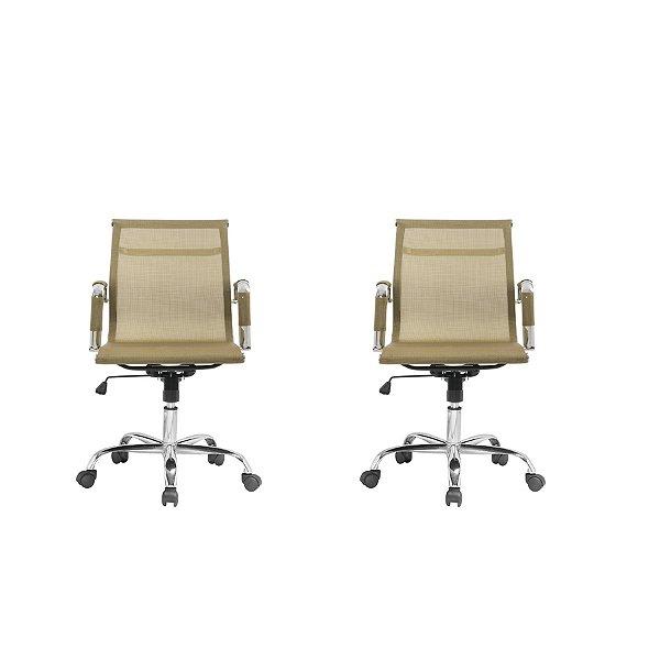 Kit 2x Cadeira Escritorio Fratini Office Rodizio Sidney Eames Dourado Cromado Giratoria Presidente Com Braços