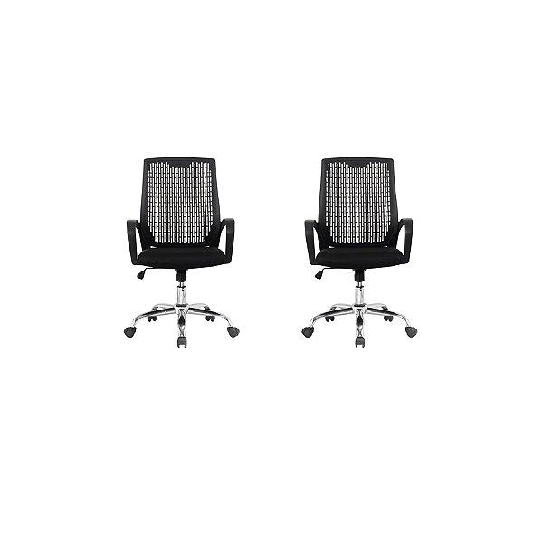 Kit 2x Cadeira Escritorio Fratini Office Rodizio Singapura Eames Preto Cromado Giratoria Presidente Com Braços