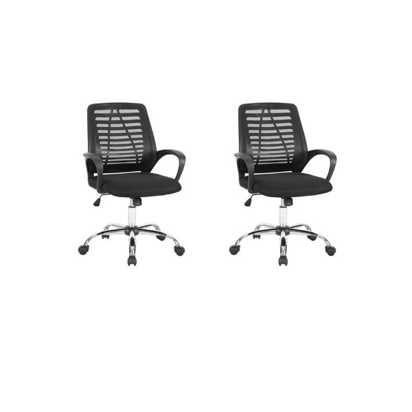 Kit 2x Cadeira Escritorio Fratini Office Rodizio Toronto Eames Preto Cromado Giratoria Presidente Com Braços