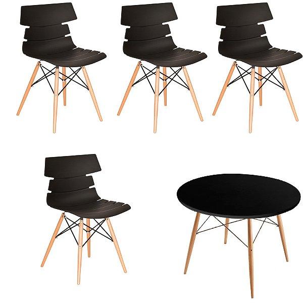 Kit 4 Cadeiras Mesa Fratini Redonda Design Eames Eiffel DAR Ray Pes Madeira Natural Salas Valencia Preto Branco