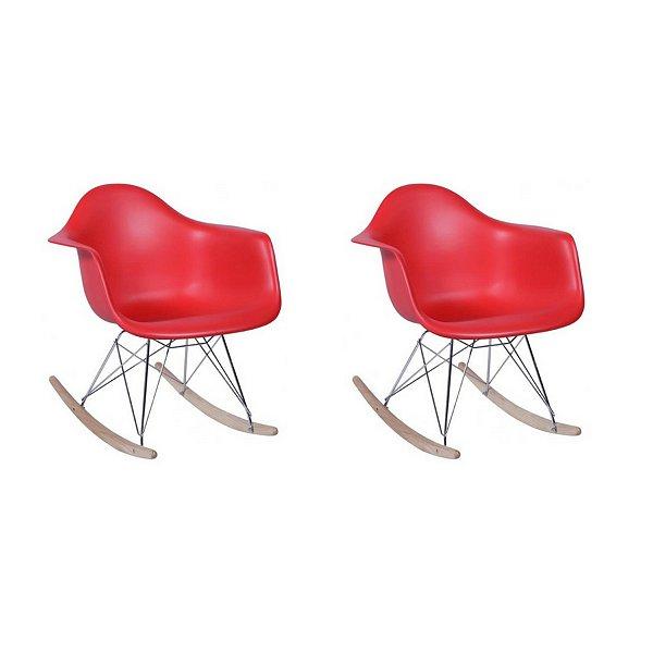 Kit 4x Cadeira Balanço Design Eames Eiffel DAR Ray Salas Florida Vermelha Braços Polipropileno Fratini