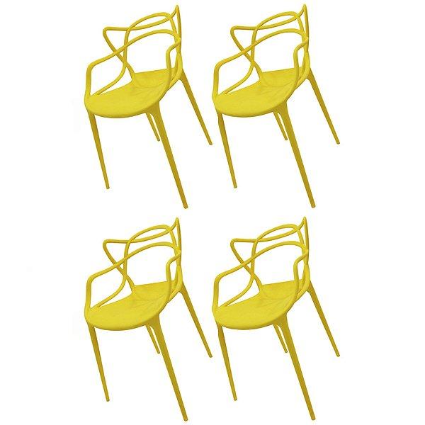 Kit 4x Cadeira Design Alegra Master Philippe Starck Amarela Polipropileno Cozinhas Aviv Fratini