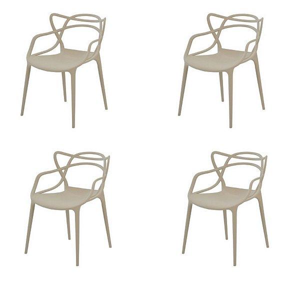 Kit 4x Cadeira Design Alegra Master Philippe Starck Fendi Polipropileno Cozinhas Aviv Fratini