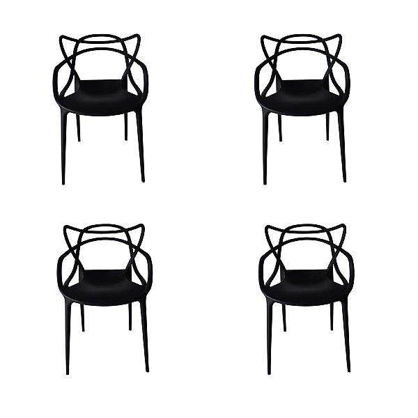 Kit 4x Cadeira Design Alegra Master Philippe Starck Preta Polipropileno Cozinhas Aviv Fratini