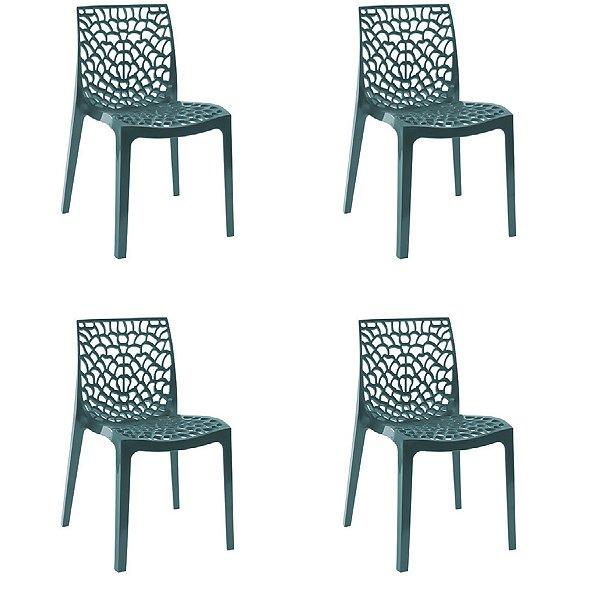 Kit 4x Cadeira Design Azul Petroleo Vermelho Externa e Interna Cozinhas Salas Restaurantes Fratini