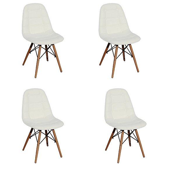 Kit 4x Cadeira Design Botone Eames Eiffel DAR Ray Pes Madeira Salas Madrid Branco  Fratini
