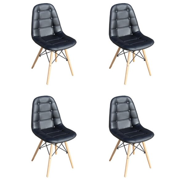 Kit 4x Cadeira Design Botone Eames Eiffel DAR Ray Pes Madeira Salas Madrid Preto  Fratini