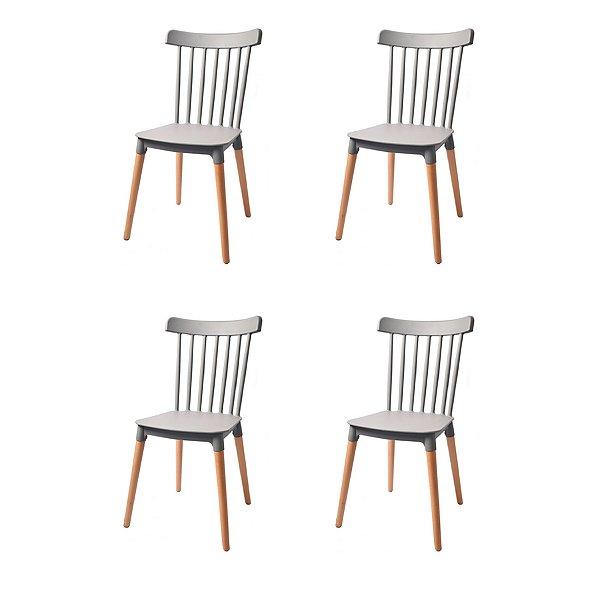 Kit 4x Cadeira Design Classica Windsor Madeira Restaurantes Salas Gourmet Roma Cinza Fratini