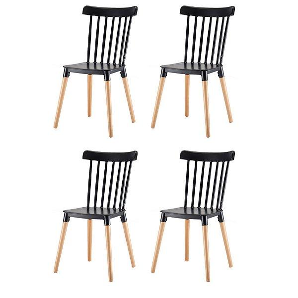 Kit 4x Cadeira Design Classica Windsor Madeira Restaurantes Salas Gourmet Roma Preto Fratini
