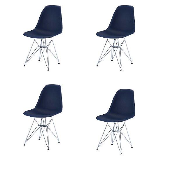 Kit 4x Cadeira Design Eames Eiffel DAR Ray Pes Ferro Salas Florida Azul Marinho Assento Polipropileno Fratini