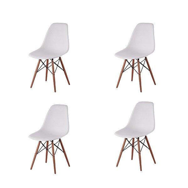 Kit 4x Cadeira Design Eames Eiffel DAR Ray Pes Madeira Salas Florida Branca Assento Polipropileno Fratini