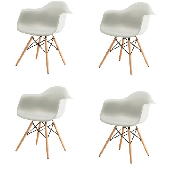 Kit 4x Cadeira Design Eames Eiffel DAR Ray Pes Madeira Salas Florida Branca Braços Polipropileno Fratini