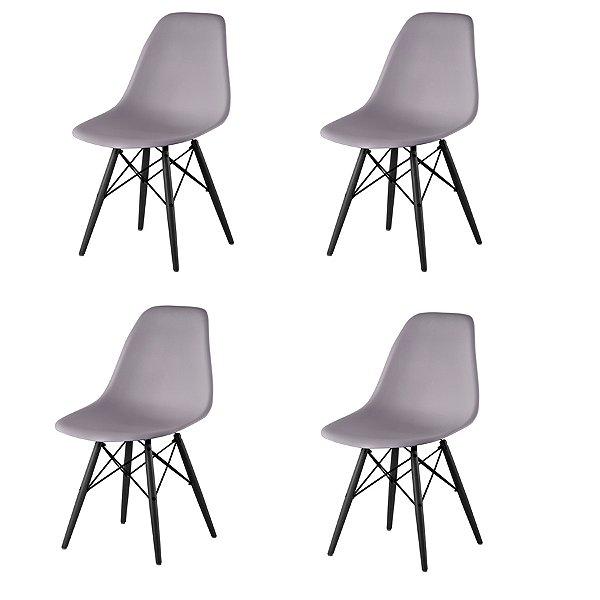 Kit 4x Cadeira Design Eames Eiffel DAR Ray Pes Madeira Salas Florida Cinza Assento Polipropileno Fratini