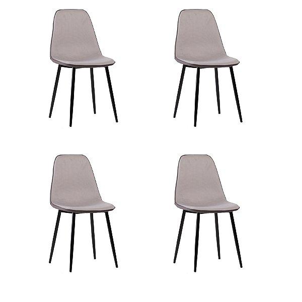 Kit 4x Cadeira Design Eames Eiffel DAR Ray Pes Madeira Salas Lyon Cinza Assento Polipropileno Fratini