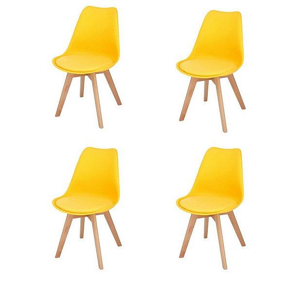 Kit 4x Cadeira Design Eames Eiffel DAR Ray Pes Madeira Salas Siena Amarela Assento Couro Fratini