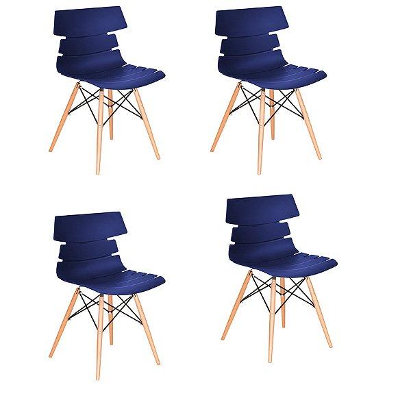 Kit 4x Cadeira Design Eames Eiffel DAR Ray Pes Madeira Salas Valencia Azul Marinho Assento Polipropileno Fratini