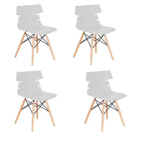 Kit 4x Cadeira Design Eames Eiffel DAR Ray Pes Madeira Salas Valencia Branco Assento Polipropileno Fratini