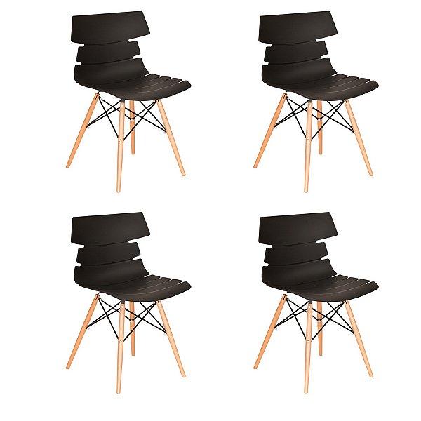 Kit 4x Cadeira Design Eames Eiffel DAR Ray Pes Madeira Salas Valencia Preto Assento Polipropileno Fratini