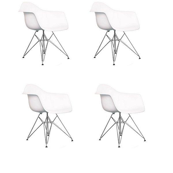 Kit 4x Cadeira Design Eames Eiffel DAR Ray Pes Metal Salas Florida Branca Braços Polipropileno Fratini