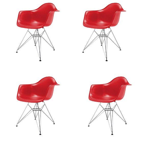 Kit 4x Cadeira Design Eames Eiffel DAR Ray Pes Metal Salas Florida Vermelha Braços Polipropileno Fratini