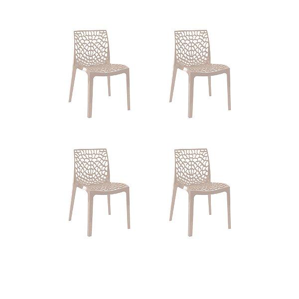 Kit 4x Cadeira Design Fendi Vermelho Externa e Interna Cozinhas Salas Restaurantes Fratini