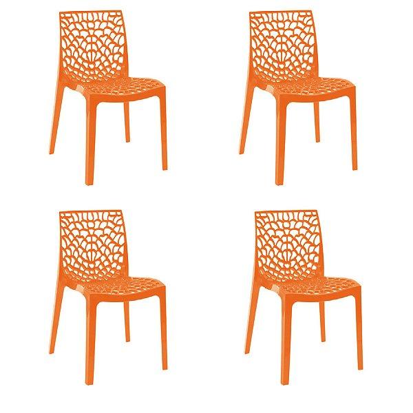 Kit 4x Cadeira Design Gruvier Laranja Externa e Interna Cozinhas Salas Restaurantes Fratini
