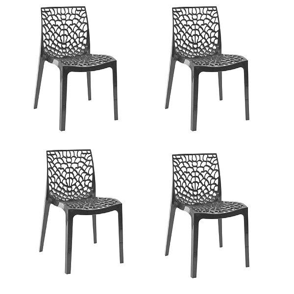 Kit 4x Cadeira Design Gruvier Preto Externa e Interna Cozinhas Salas Restaurantes Fratini
