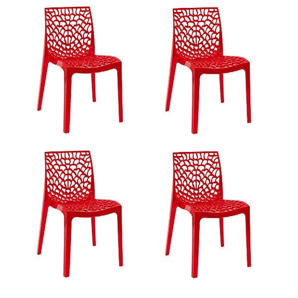 Kit 4x Cadeira Design Gruvier Vermelho Externa e Interna Cozinhas Salas Restaurantes Fratini