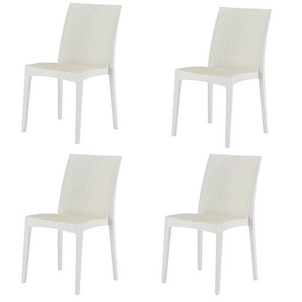 Kit 4x Cadeira Design Ibiza Marfim Externa e Interna Cozinhas Tramas tipo Rattan Varandas Salas Fratini