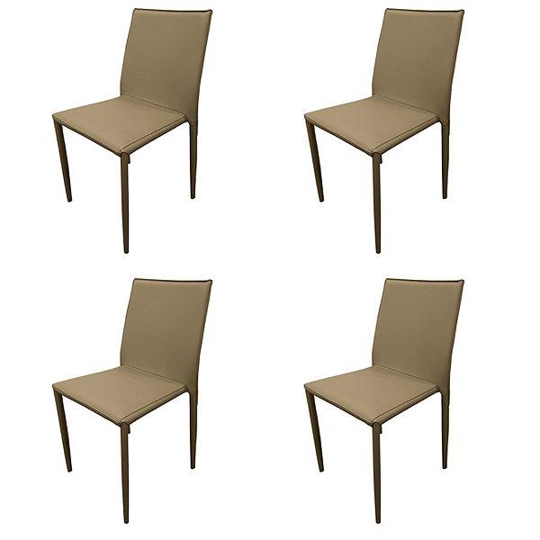 Kit 4x Cadeira Design Quadrada Fendi Fendi Estofado Tecido Couro Moderna Cozinhas Salas Zurique Fratini