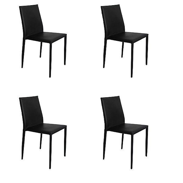 Kit 4x Cadeira Design Quadrada Preto Assento Estofado Tecido Couro Moderna Cozinhas Salas Zurique Fratini