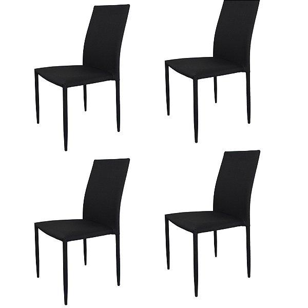 Kit 4x Cadeira Design Quadrada Preto Grafite Assento Tecido Moderna Cozinhas Salas Miami Fratini