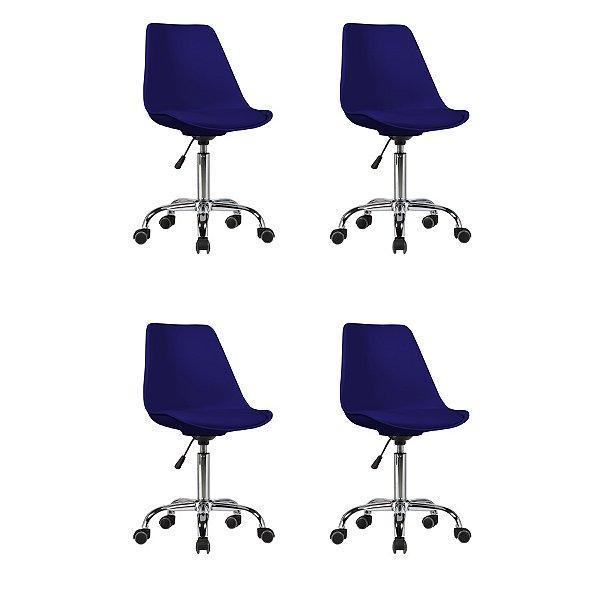 Kit 4x Cadeira Design Saarinen Office Eames Eiffel Rodizio Azul Marinho Quartos Chicago Fratini