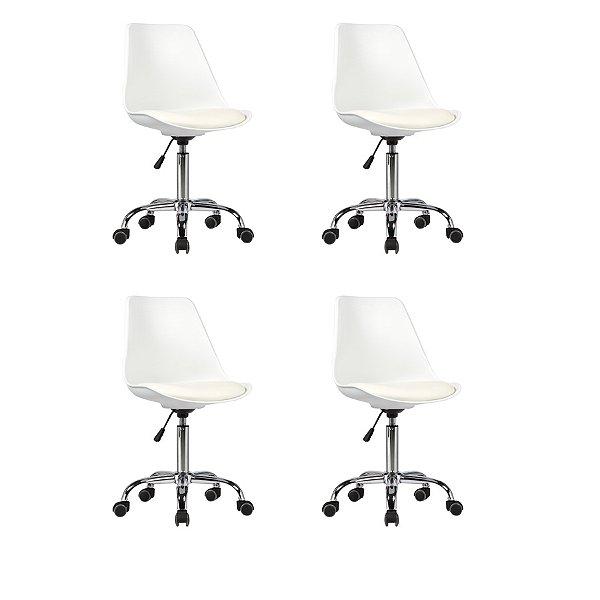 Kit 4x Cadeira Design Saarinen Office Eames Eiffel Rodizio Branco Quartos Chicago Fratini