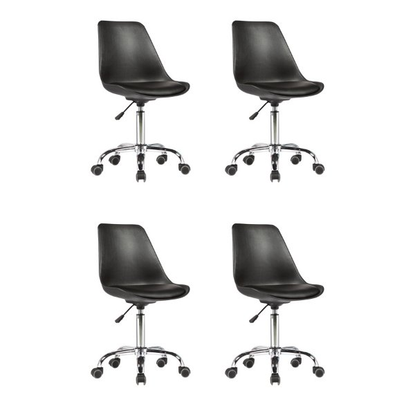 Kit 4x Cadeira Design Saarinen Office Eames Eiffel Rodizio Preto Quartos Chicago Fratini