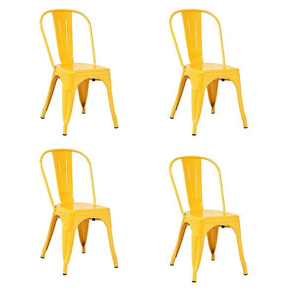 Kit 4x Cadeira Design Tolix Iron Francesinha Xavier Pauchard Amarelo Cozinhas Berlin Fratini