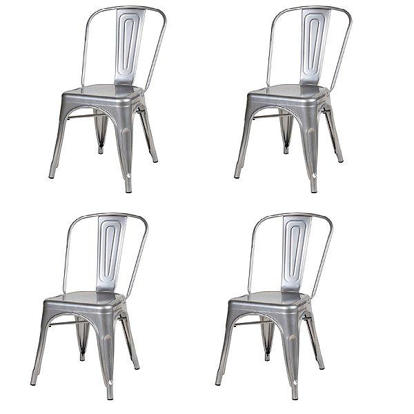 Kit 4x Cadeira Design Tolix Iron Francesinha Xavier Pauchard Prata Natural Cozinhas Berlin Fratini
