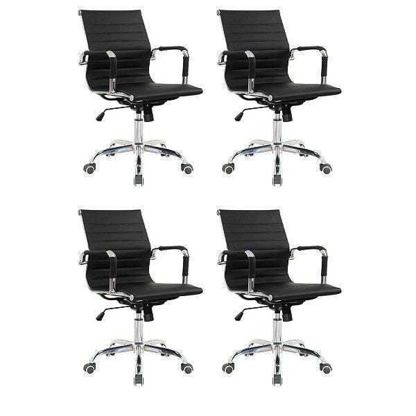 Kit 4x Cadeira Escritorio Fratini Office Rodizio Eames Manhattan Preto Cromado Giratoria Diretor Com Braços