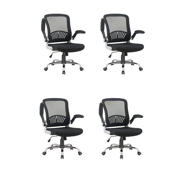 Kit 4x Cadeira Escritorio Fratini Office Rodizio Londres Cinza Giratoria Diretor Com Braços