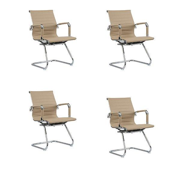 Kit 4x Cadeira Escritorio Fratini Office Rodizio Manhattan Eames Fendi Cromado Fixa Diretor Com Braços
