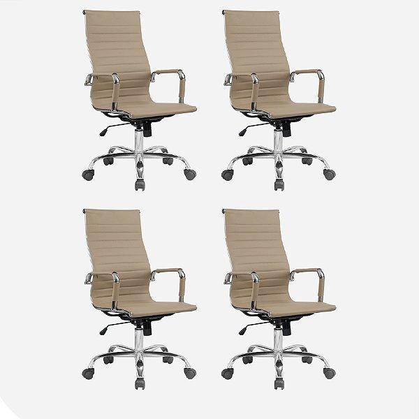 Kit 4x Cadeira Escritorio Fratini Office Rodizio Manhattan Eames Fendi Cromado Giratoria Presidente Com Braços