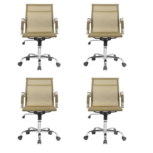 Kit 4x Cadeira Escritorio Fratini Office Rodizio Sidney Eames Dourado Cromado Giratoria Presidente Com Braços